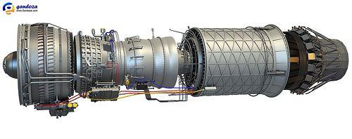 F100 Afterburning Turbofan Engine 3D Model