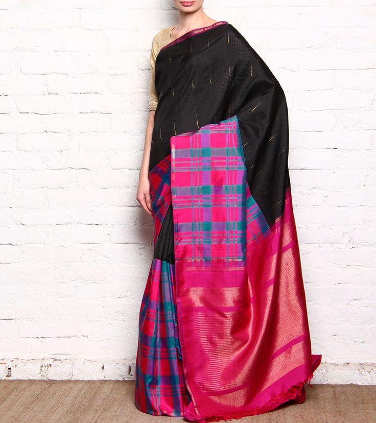 Black & Magenta Kanjivaram Silk Saree