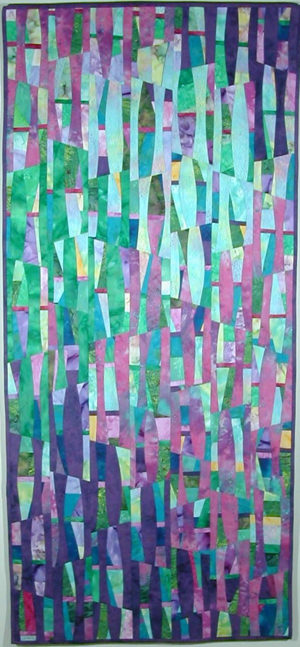 """""""Stained Glass"""", 28"""" x 62"""", art quilt by Frauke Palmer - pretty color combo for a quilt"""