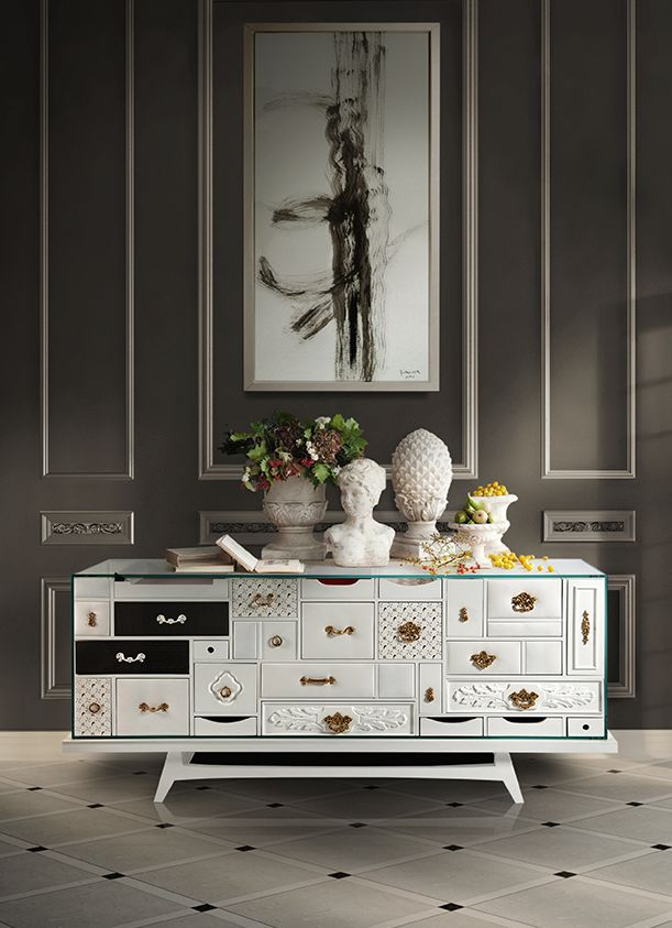 Mondrian Sideboard by Boca do Lobo | Modern Cabinets |  Contemporary Cabinets | Modern Buffet | Sideboard Cabinet | For more inspirational ideas take a look at: www.bocadolobo.com