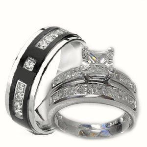 his her 3 piece wedding ring set white gold ep sterling silver and titanium womens - Men And Women Wedding Rings