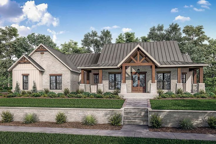 Country Farmhouse Traditional House Plan 80801 With 3 Beds 3 Baths 3 Car Garage Elevation In 2021 Modern Farmhouse Plans Farmhouse Plans Ranch Style House Plans Traditional house plan 80801