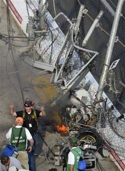 nascar crash engine in stands