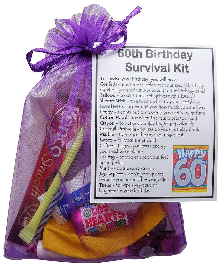 60th Birthday Gift - Unique Novelty survival kit - 60th Birthday for her, Gift for 60th, sixtieth birthday.