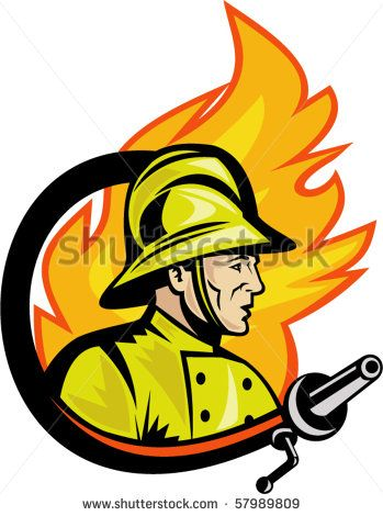 vector illustration of a Fireman or firefighter with fire hose and fire in the background. - stock vector #fireman #retro #illustration