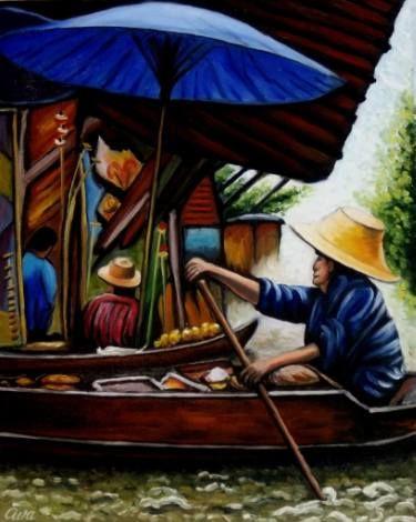 "Saatchi Art Artist Dan Civa; Painting, ""Floating Market, Bangkok, Thailand, No.A."" #art"