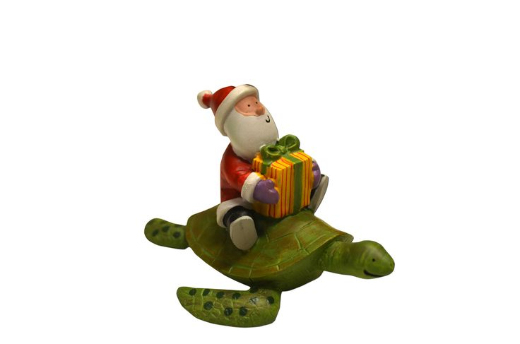 Santa on Sea Turtle Ornament - loggerhead