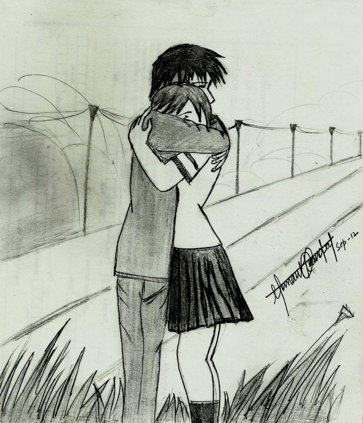 Pencil Sketches Of Couples In Love Cute Couple Hemant Kandpals Art ...