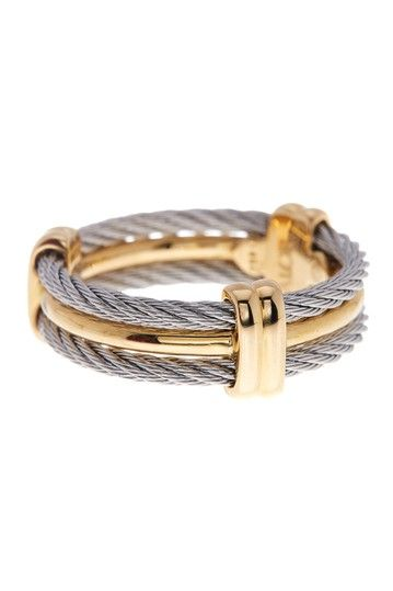 Image of ALOR 18K Yellow Gold & Stainless Steel Three Band Ring - Size 10