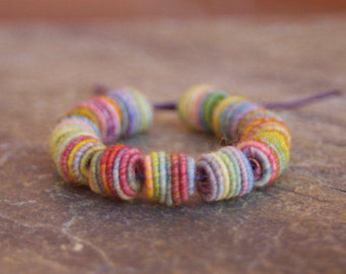 Kleine handgefertigte Stoff Textil Perlen - Perlen - Faser Perlen - Böhmisch - Hippie Boho Style - Garn Perlen