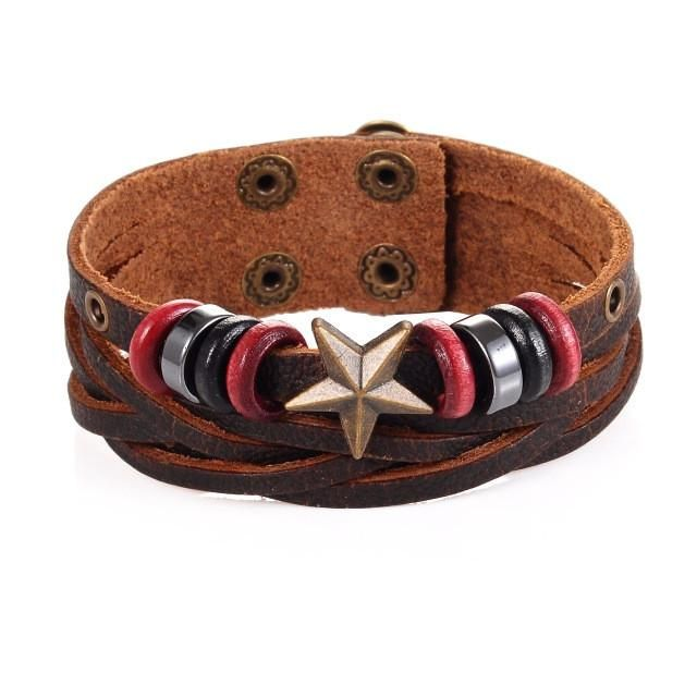 Star Charm Cuff Leather Bracelet  Fabulous fashion and chic design, this adorable leather bracelet adds a flattering appeal to any outfit. Button safety locks ensure a secure fit and promise carefree wear.  Length: 17-20 cm (6.69 - 7.87'') Width: 2 cm Color: Brown Clasp Type: Hidden-safety-clasp Material: Leather Metals Type: Alloy