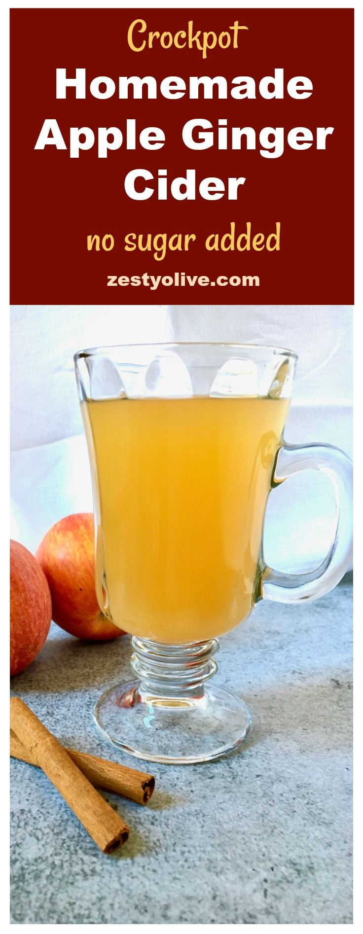 This Easy Homemade Apple Ginger Cider Recipe with no added sugar will fill your home with aromas of the season: apple, orange, ginger, cinnamon and cloves, while it simmers in your crock pot. #apples #cider #crockpot #slowcooker #beverage #holidays #applecider #homemade #food #recipes zestyolive.com