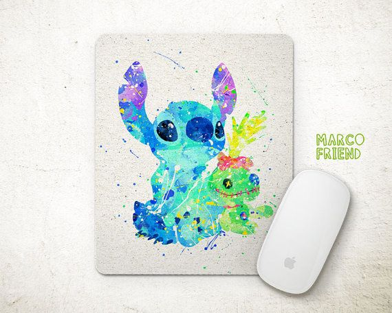 Disney Stitch Scrump the Doll Watercolor Art Mouse by MarcoFriend