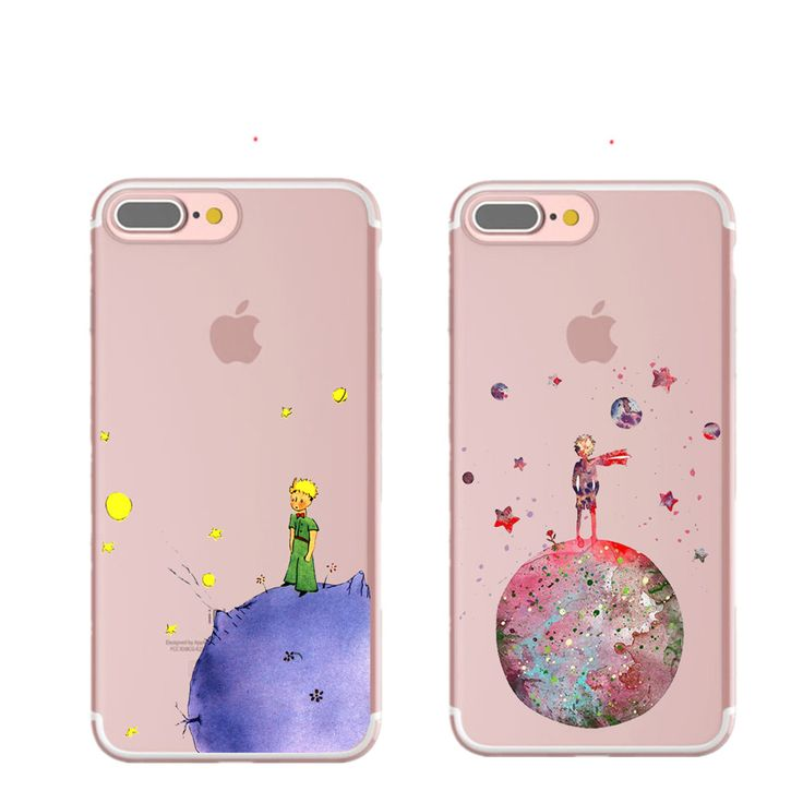 Cartoon The Little Prince The earth space  Silicone TPU Transparent Cover Case for iPhone 7 7 Plus 6 6S Plus 5 5S SE Case Coque