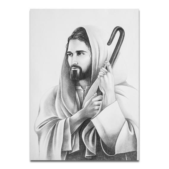 Dibujo A Lapiz Dibujado A Mano De Jesus El Buen Pastor Tamanos Indicados Son 8 X 10 Pulgadas 11 X 14 Pulga De Jesus Dibujos De Jesus Pastores Cristianos