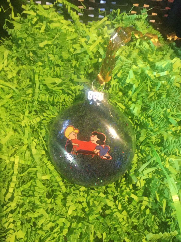 Lucy Schroeder Peanuts Sparkle Christmas Glitter decoupage Ornament by HopesSassyGlass on Etsy