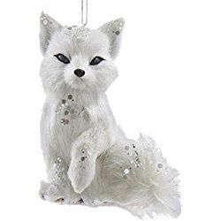 """White and Silver Frosted Kingdom Plush Sitting Fox Christmas Ornaments 4"""""""