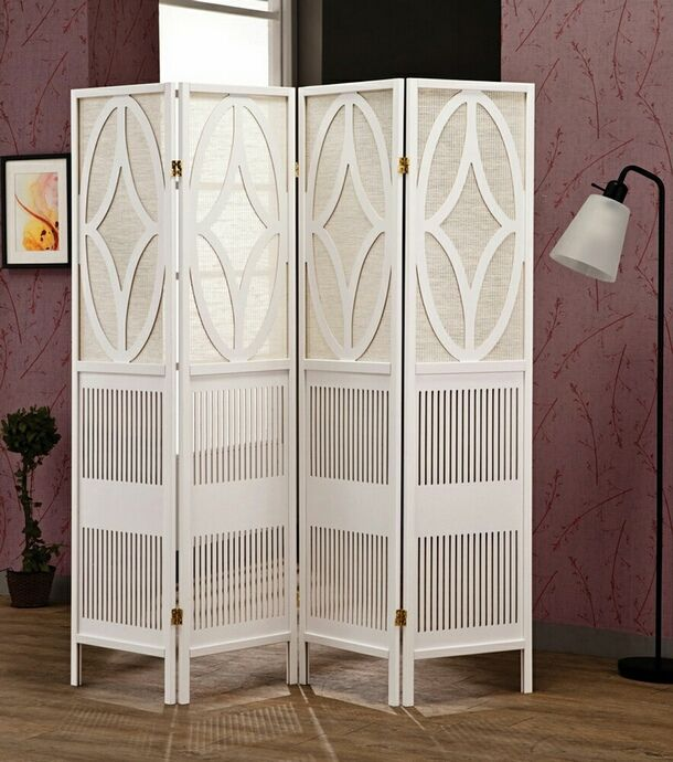 Entrancing White Room Partition Decoration For Living Design Ideas With Wood Four Panel Folding Screen Divider