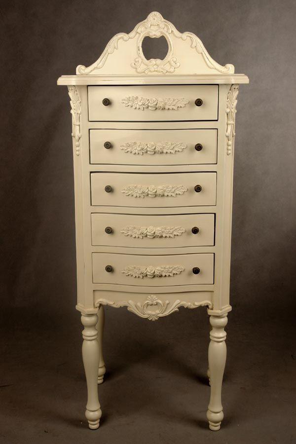 Komoda z pięcioma szufladami zdobiona motywami roślinnymi / chest of drawers in rococo style