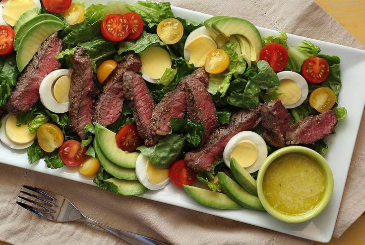 Simple and sensational paleo salad made with greens, eggs, veggies, sirloin steak, and an easy dressing recipe. Not really gourmet but so darned good. Try it!