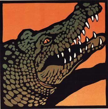 19 Crocodile Teeth an original linocut by Chris Wormell.