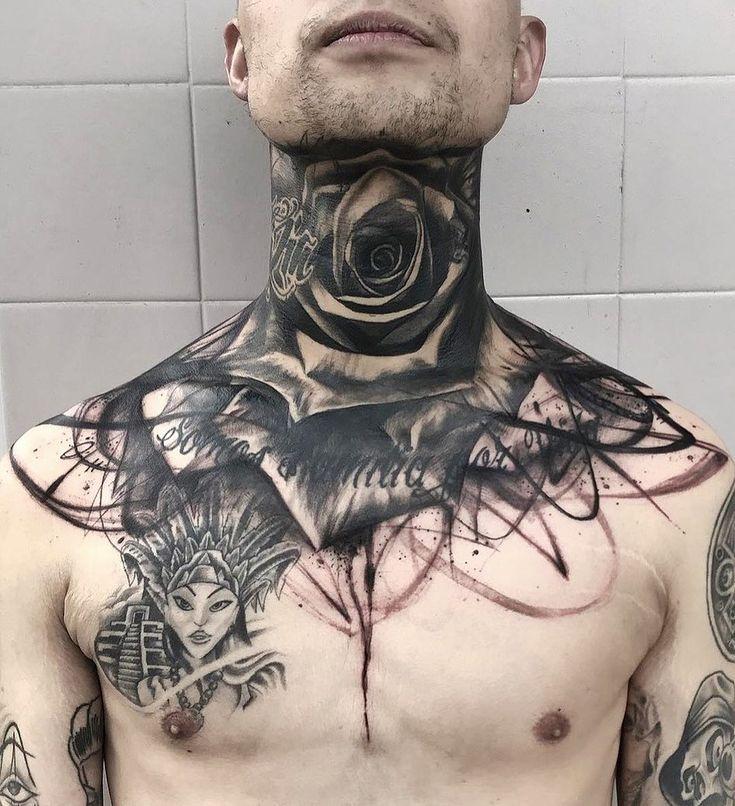 Шея . . цветок шея роза rose тату татуировки