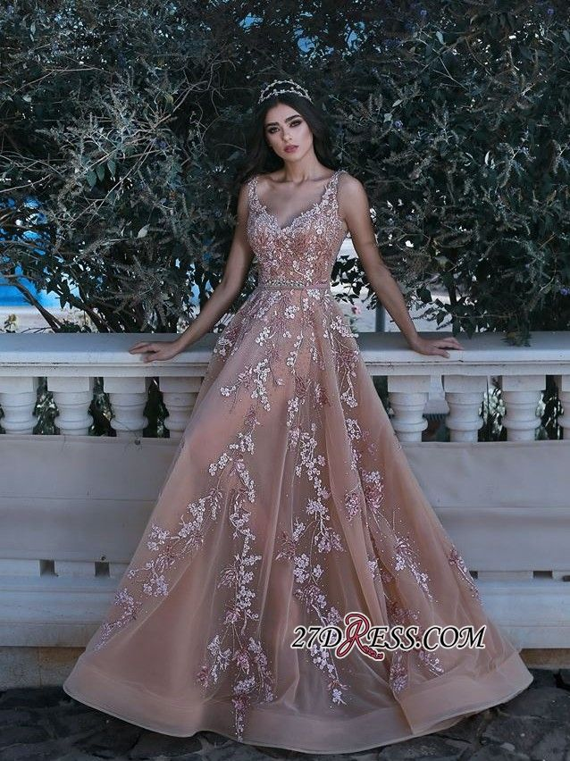 e5a88649e78 Glamorous V-neck Sleeveless 2018 Evening Dress Lace Appliques Long MH0 High  Quality Wedding Dresses