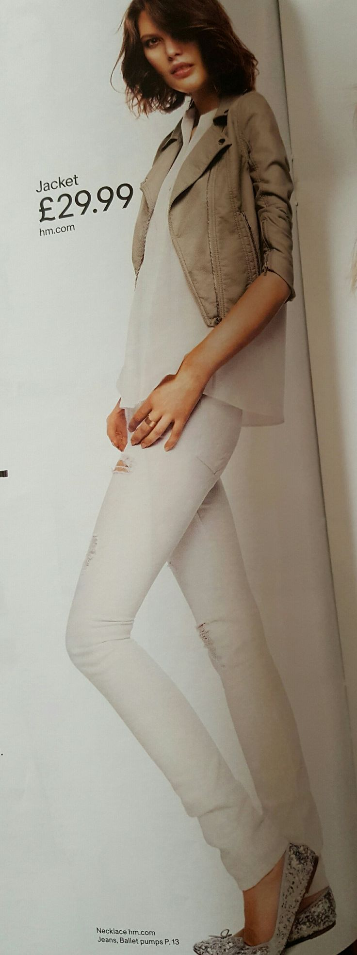 White skinny jeans white top and cream faux leather biker