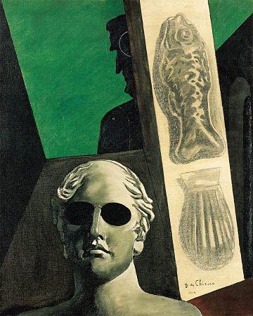 Surrealist art  1914  Giorgio de Chirico,   Portrait prémonitoire de Guillaume Apollinaire.