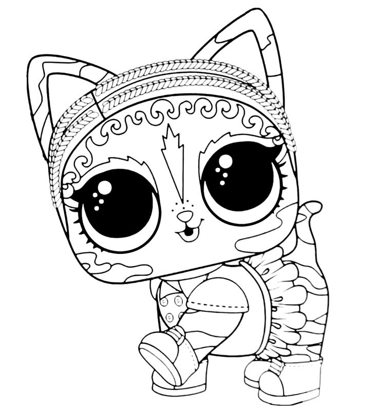 LOL Surprise Pet Coloring Page Agent Kitty in 2020 ...
