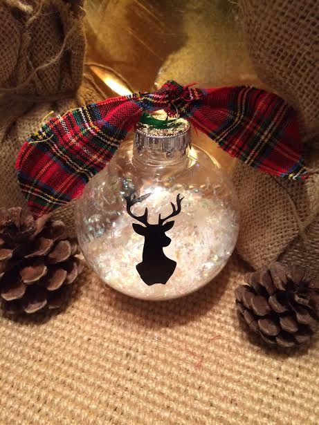 Silhouette Deer Head Ornament - This Silhouette Deer Head Ornament takes no time to make. Here is what you will need.  glass or plastic clear…