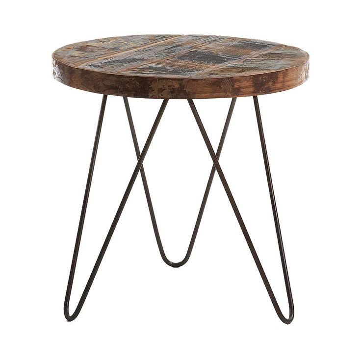 #Mesa #auxiliar #redonda en #madera con patas de #hierro