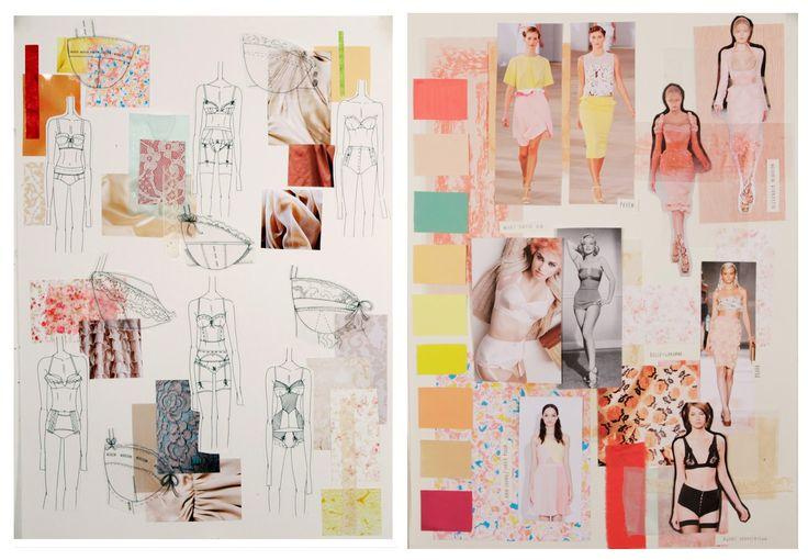 Fashion Sketchbook - fashion design drawings, fashion mood board research & idea development; the design process; contour fashion lingerie design portfolio // Natasha Elliott
