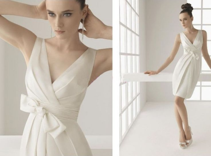 2012 New style Column Bowknot V-Neck Satin Bridal Dresses (2012SWD-046)