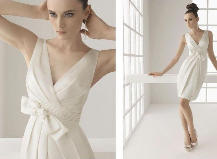 2012 New style Column Bowknot V-Neck Satin Bridal Dresses (2012SWD-046)