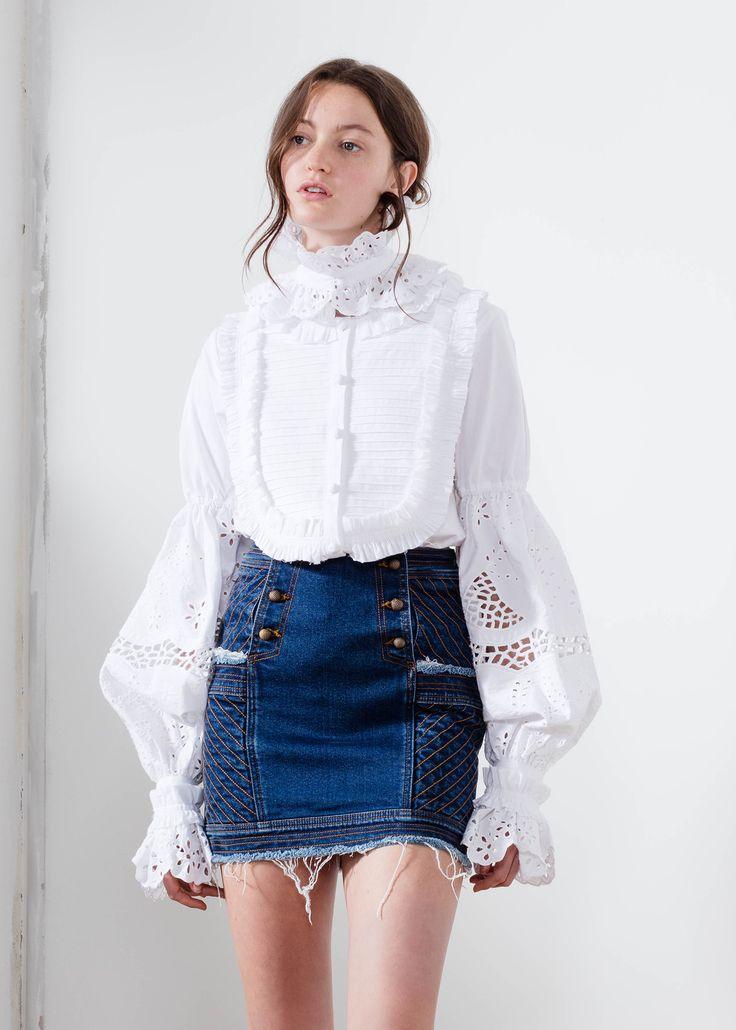 Aje denim mini skirt indigo Audrey.   #AjeTheLabel #Fashion #Style #Lace #BroderieAnglaise #Embroidery #Frill #Sequins #Texture #Exclusive #Summer17 #EdwinaRobinson #AdrianNorris #White #Chambray #Navy #Nautical #LaDolceVita #Travel #Inspiration #