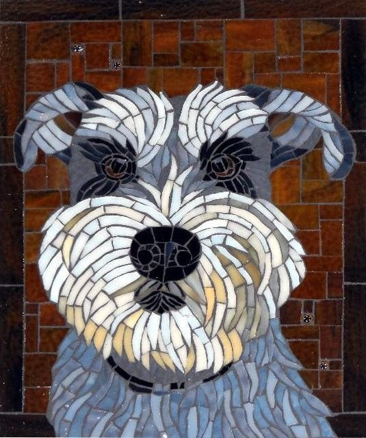 Gallery of stained glass mosaic pet portraits by Santa Barbara, CA artist Christine Brallier.