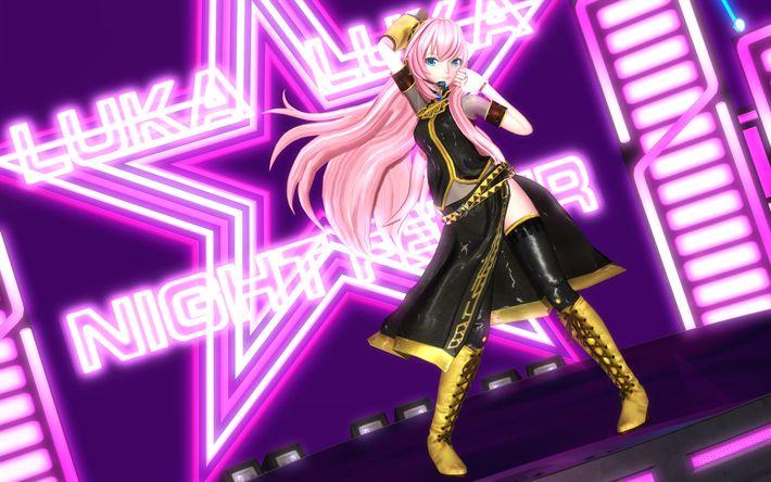Scarica sfondi Megurine Luka, concerto, capelli rosa, manga, Vocaloid
