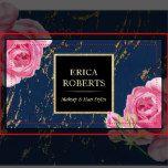 Makeup Artist Hair Stylist Modern Floral Navy & Gold Business Cards.