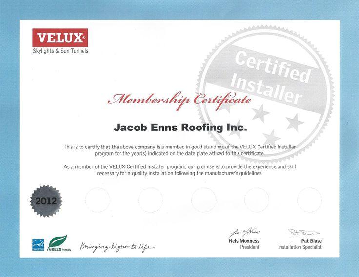 Velux Certified Installer Certificate   JER Credentials   Pinterest