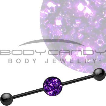 Purple Haze Glitter Industrial Barbell #bodycandy #bodyjewelry #industrial $9.99
