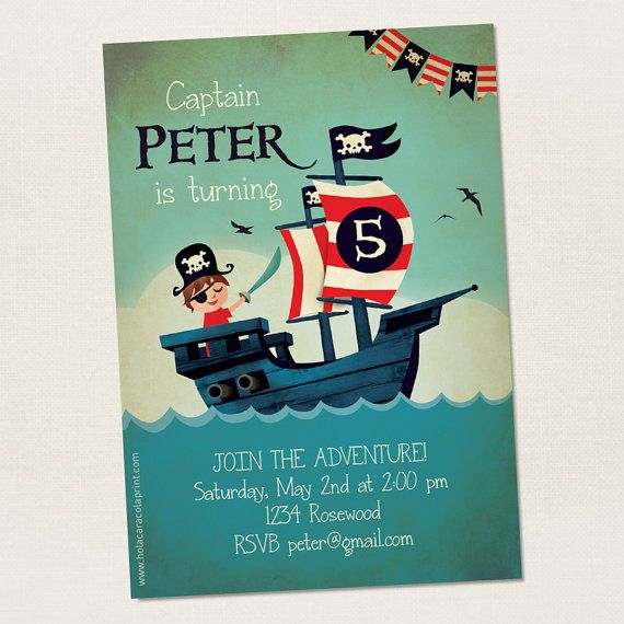 Pirate invitation. Birthday invitation. Instant download. Edit yourself with Adobe Reader. PDF.