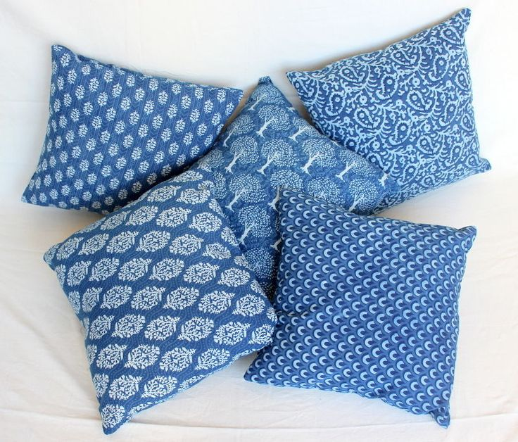 5 pcs lot Indigo Blue Dyed Hand Block Printed Cotton Natural Blue Cushion Cover & 28 best tie dye cushion cover indigo block print cushion images ... pillowsntoast.com