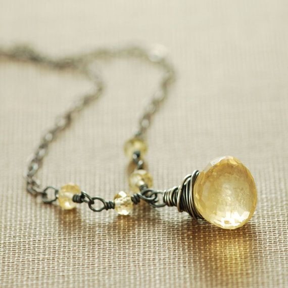 Golden Citrine Necklace Sterling Silver Yellow by aubepine on Etsy, $44.00