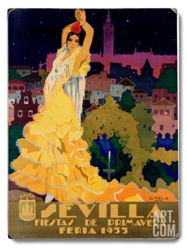 1933 Sevilla Fiesta Wood Sign at Art.com