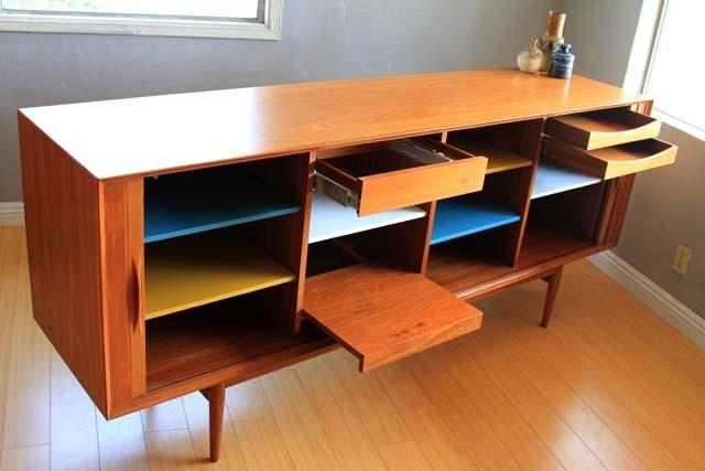 Danish Modern Teak Tambour Credenza Sideboard Cabinet Mid Century Eames Era
