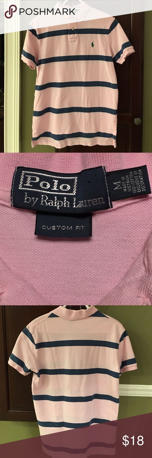 EUC Men's Pink Ralph Lauren Striped Polo - Size M Great looking Men's Pink with Blue Stripes Ralph Lauren polo shirt in a size Medium. No stains or tears. Polo by Ralph Lauren Shirts Polos