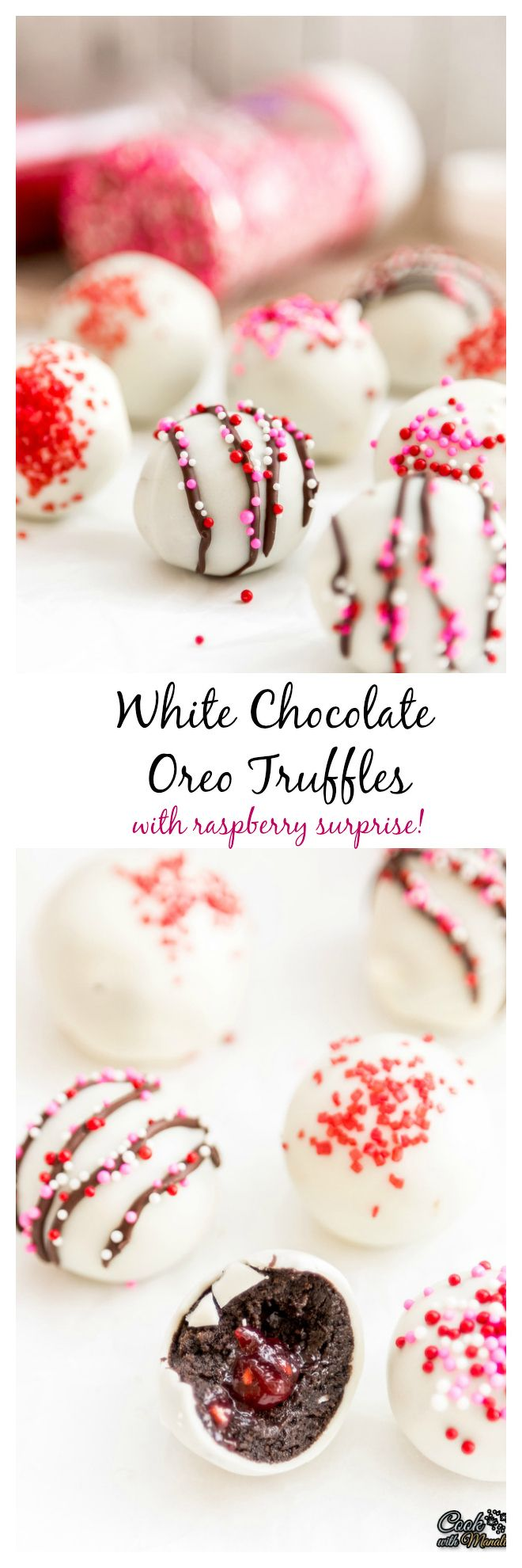White Chocolate Oreo Truffles with Raspberry surprise in the center are super easy & delicious! #chocolate #oreo