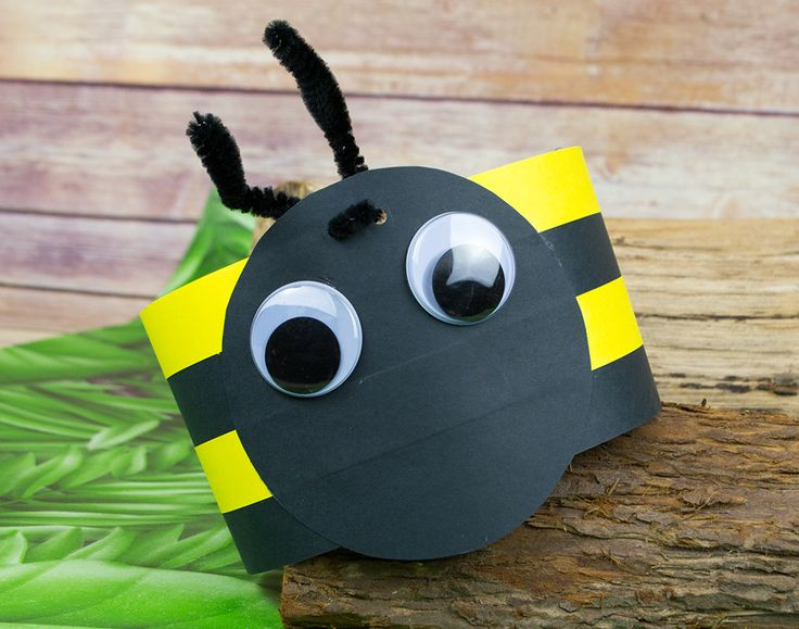 Bumble Bee Headband or Party Hat Craft Idea | littlecraftybugs - Boredom Buster Bugs - Mini Beast Crafts For The Kids' School Holidays