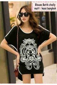 Blouse Batik Chelly Bahan: kaos Bangkok Size: Lebar dada/panjang: 46/70cm Kode Produk: T4905 Harga: Rp. 60.000